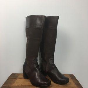 Clark's Brown Suede Leather Knee High Heel Boots